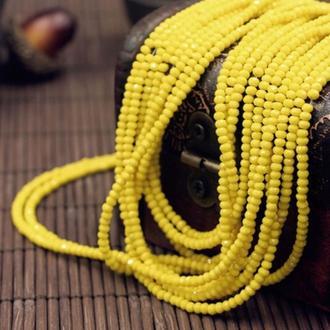 Бусины Хрустальные 4х3мм Желтые непрозрачные