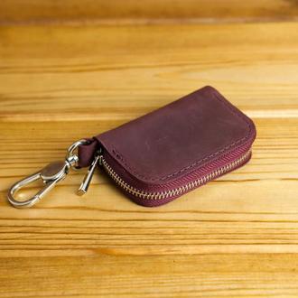 Кожаный чехол для автоключа ОТТИСК МАРКИ ВАШЕГО АВТО В ПОДАРОК, винтажная кожа, цвет  бордо