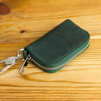 Кожаный чехол для автоключа ОТТИСК МАРКИ ВАШЕГО АВТО В ПОДАРОК, винтажная кожа, цвет зеленый