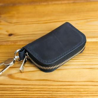 Кожаный чехол для автоключа ОТТИСК МАРКИ ВАШЕГО АВТО В ПОДАРОК, винтажная кожа, цвет  синий