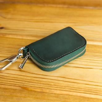 Кожаный чехол для автоключа ОТТИСК МАРКИ ВАШЕГО АВТО В ПОДАРОК, кожа итальянский краст, цвет зеленый