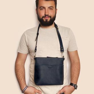 Кожаная мужская сумка синего цвета Mr.Dzyadik