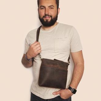 Кожаная мужская сумка коричневого цвета