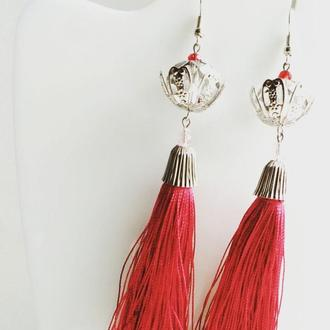 Серьги подвески красные