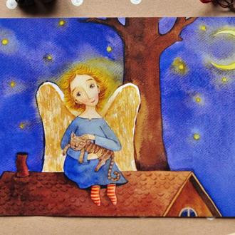 "Открытка ""Ангел на крыше"""