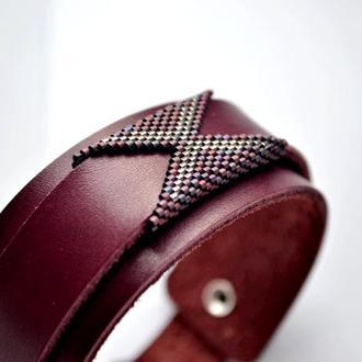 Женский кожаный браслет. Дизайнерский браслет из натуральной кожи. Купить стильный кожаный браслет