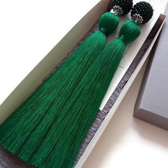 """Длинные зеленые серьги-кисти """"ЗЕЛЕНЫЙ СТИЛЬ"""" сережки кисточки LILEI JEWELRY"""