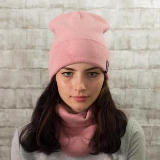 Комплект вязана шапка зі снудом унісекс  пудра (26 кольорів)