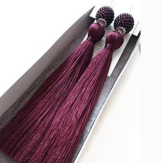 """Длинные серьги-кисти """"МАРСАЛА СТИЛЬ"""" бордо, винный цвет шелковые сережки кисточки LILEI JEWELRY"""