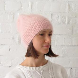 Розовая шапка вязаная, пушистая шапка бини ангора для девушки женщины, подарок на Новый год