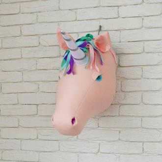 Единорог беж. голова на стену