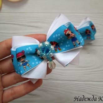 Маленькие нарядные бантики с рисунком куклы ЛОЛ