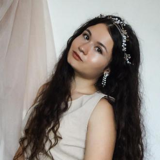 Свадебная веточка для прически/свадебный венок для волос/свадебный ободок для волос