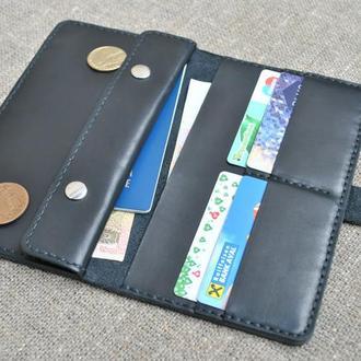 Большой черный кошелек из натуральной кожи K11-0