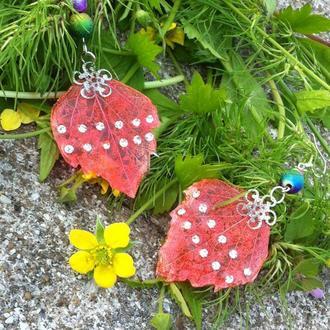 Скелетированные листья с кристаллами сваровского, ярко розовые серьги