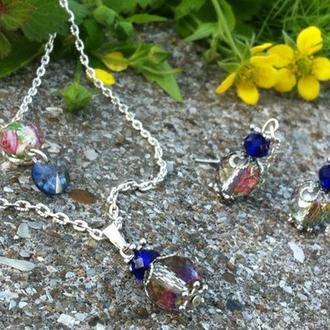 Радужный ювелирный набор с кристаллами сваровского, чешским стеклом и бусиной ламп ворк
