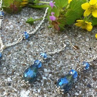 Яркий ювелирный набор, с большими кристаллами сваровского