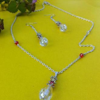 Ювелирный набор с кристаллами сваровского и чешским стеклом, переливается разными цветами