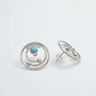 """Серебряные серьги с ларимарами. Коллекция """"Орбиты"""""""