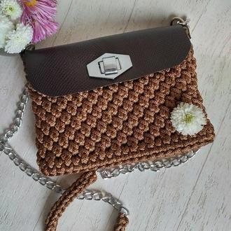 Женская сумка кросс-боди из ПП шнура и кожи