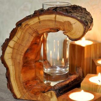 Деревянная ваза на подарок оригинальный декор