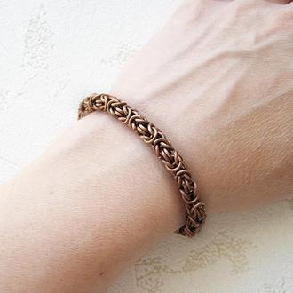 Мужской массивный медный браслет цепочка. византийское плетение
