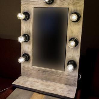 Искусственно состаренное гримерное зеркало с полкой ручной работы