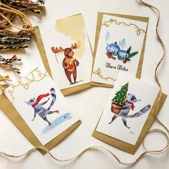 Набор новогодних открыток с конвертами