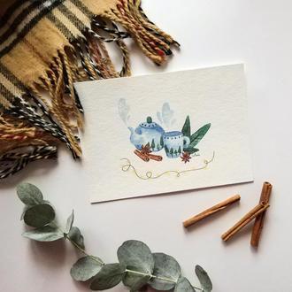 """Акварельная картинка """"Чайник с чашечкой"""" - подарок на 14 февраля - подарок на день святого Валентина"""