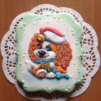 Новогодняя Пряничная открытка! Символ 2018 Года - Собака!