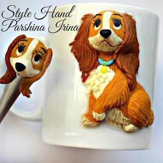 Чашка из полимерной глины, ложка с декором, чашка с собакой, кружка с собакой, ложка с собакой