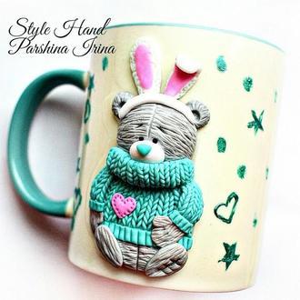 Чашка мишка тедди, чашка с декором, кружка с декором из полимерной глины, чашка тедди из полимерной