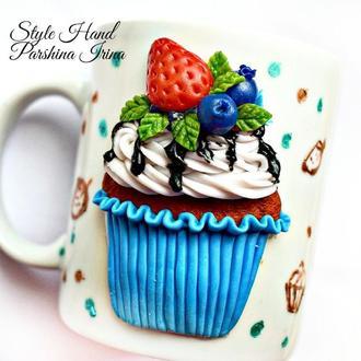 Чашка с кексом, чашка с декором из полимерной глины, вкусная чашка, кружка с декором