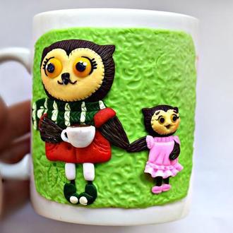Чашка с совой из полимерной глины, кружка с декором, чашка сова, чашка с декором, ложка с совой