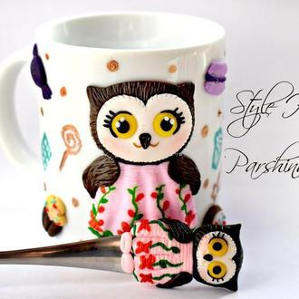 Чашка из полимерной глины, ложка с сова из полимерной глины, чашка с сова из полимерной глины
