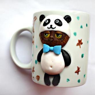 Чашка с кексом,чашка панда, чашка с декором из полимерной глины, вкусная чашка, кружка с декором