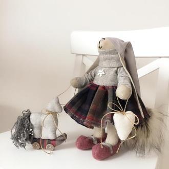 Набор подарок на Новый год зайка тильда игрушка лошадка Рождество Николая