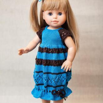Платье на куклу Паола 40 см голубое