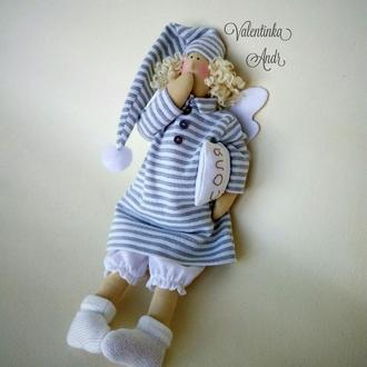 Tilda angel. Сонный Ангел Тильда. Текстильный Ангел. Интерьерная кукла оберег