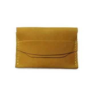 Желтый кожаный маленький женский картхолдер визитница