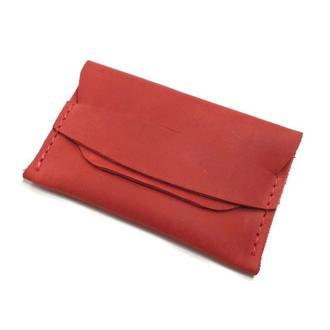 Красный женский кожаный картхолдер визитница