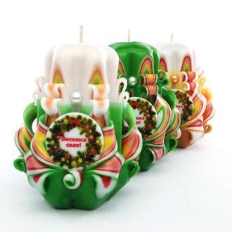 """""""Веселих свят"""" резные свечи"""