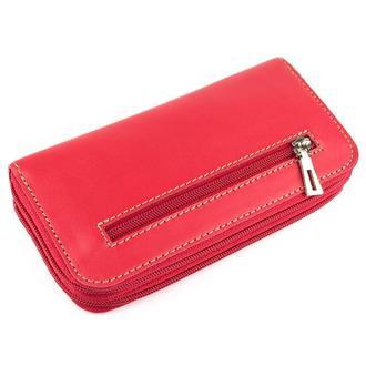 Женский кожаный кошелек на молнии двойной Varvara (красный)