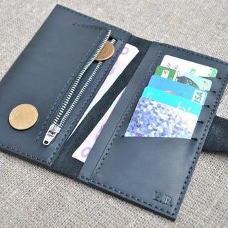Стильный портмоне черного цвета из натуральной кожи K24-0