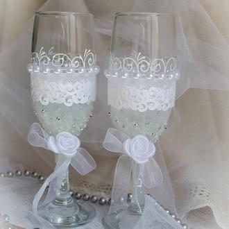 Свадебные бокалы ′Frost on the roses′