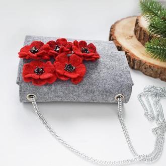 Сумка з фетру з валяними квітами із шерсті