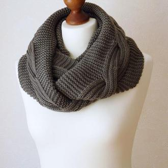 Серый шарф - снуд из мериноса