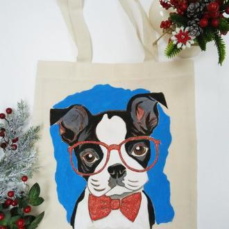 Эко-сумка с ручной росписью Щеночек-Бульдожек