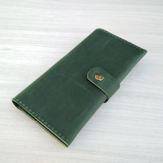 Зеленый кожаный длинный большой кошелек портмоне холдер