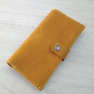 Желтый кожаный женский кошелек портмоне